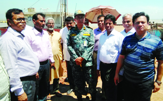 MANIKGANJ: Commodore M Mahbub-ul Islam visiting Daulatdia- Paturia Ghat area to cheak the navigation problem  on Friday. Among others,  Mohidul Islam, Chief Engineer of BIWTA and  Shafiqul Huq, Director, Bandar were present there.