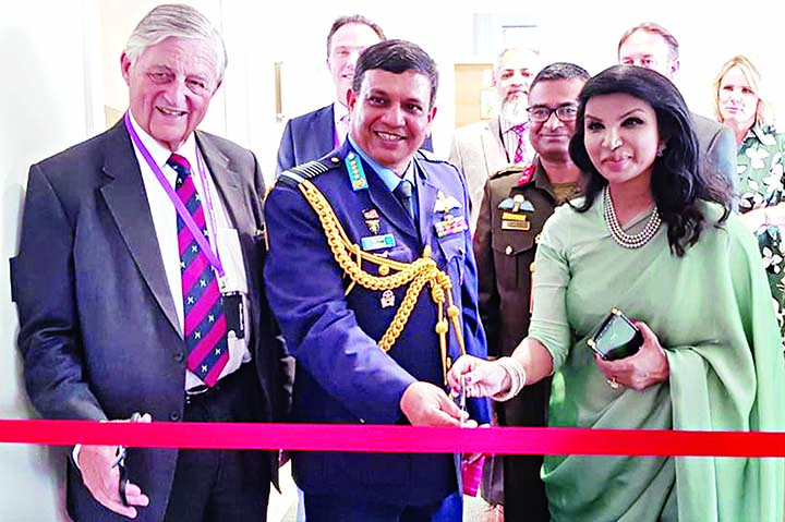 Chief of Air Staff Air Chief Marshal Masihuzzaman Serniabat inaugurating Customer Service Center of Marshal Aerospace and Defence Group in the United Kingdom during his visit there.