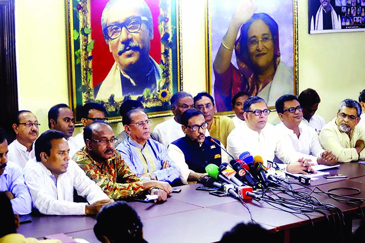 Awami League (AL) General Secretary and Road Transport and Bridges Minister Obaidul Quader speaking about the complaints of minority repression made by NGO worker Priya Saha to US President Donald Trump at a press conference at the AL President's political office in the city's Dhanmondi on Saturday.