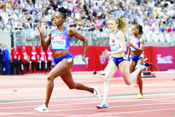 Olympic champion Elaine Thompson (front) cruising to victory in the 200 metres at the Anniversary Games in London on Saturday.