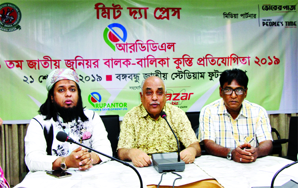 General Secretary of Bangladesh Amateur Wrestling Federation Tabiur Rahman speaking at a press conference at Dhaka Metropolis Football League Committee conference room in the Bangabandhu National Stadium on Sunday.
