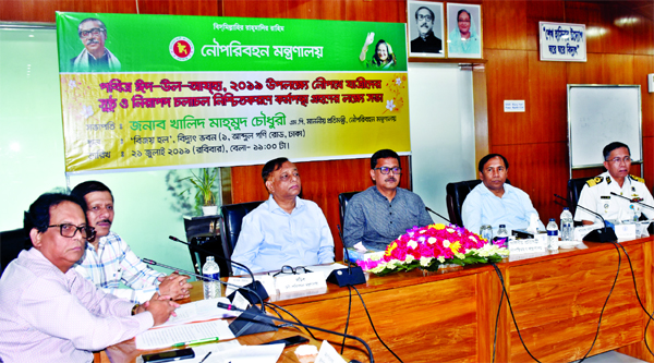 State Minister for Shipping Khalid Mahmud Chowdhury MP  presiding over a meeting  held for ensuring safety of the passengers during Eid-ul-Azha at Bidyut Bhaban yesterday.