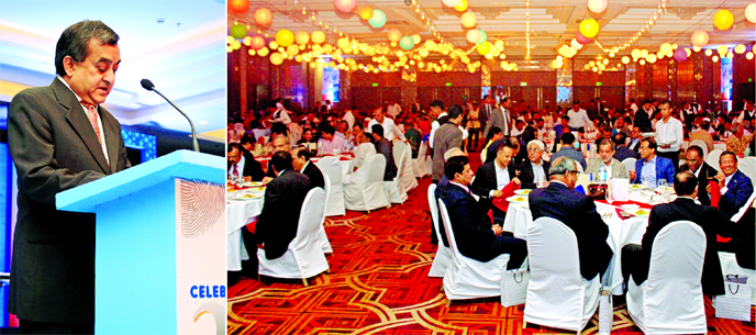 Sayeed H Chowdhury, Chairman of ONE Bank Ltd, addressing the bank's 20th founding anniversary at a city hotel on Friday. Managing Director M Fakhrul Alam and Vice Chairman Asoke Das Gupta, among others, spoke on the occasion.