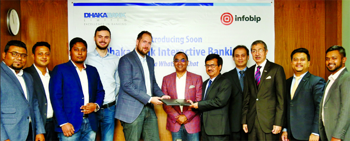 AMM Moyen Uddin, Head of Information Technology Division of Dhaka Bank Ltd and Rahad Hossain, Country Manager of Infobip (an international communications company), exchanging an agreement signing document at the bank's corporate office recently. Syed Mahbubur Rahman, Managing Director, Emranul Huq, Additional Managing Director, Md Shafquat Hossain, Head of Retail Business Division of the Bank and Dino Ibrahim Ovic, Managing Director of infobip, among others, were present.