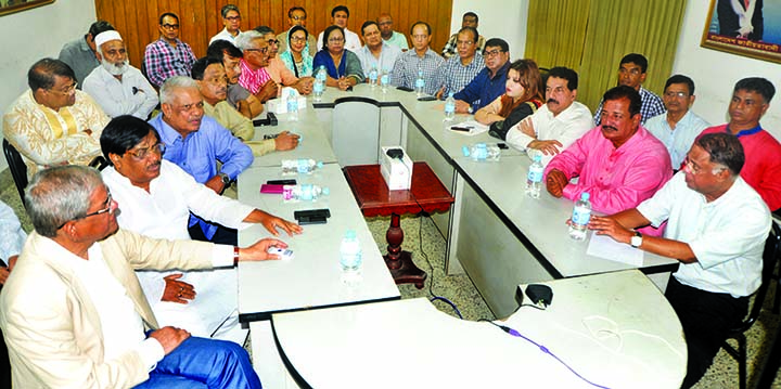 BNP Secretary General Mirza Fakhrul Islam Alamgir, among others, at an emergency meeting of the party's relief committee at the BNP Chief's Gulshan office in the city on Monday to stand beside flood-hit people.