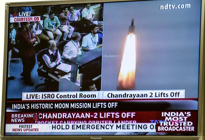 India launches historic bid to put spacecraft on Moon