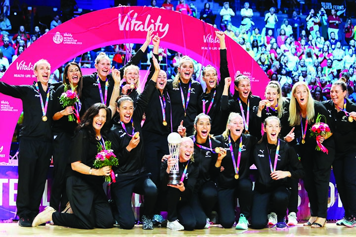 New Zealand's players celebrate after winning the Netball World Cup final match against Australia at M&S Bank Arena in Liverpool, England on Sunday.