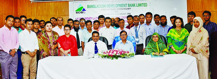 Bangladesh Development Bank Ltd General Manager (Admin) Md Abdul Baqui and Head of Training Institute Rubina Yeasmin Khan along with participants pose after attending a four-day long training course on