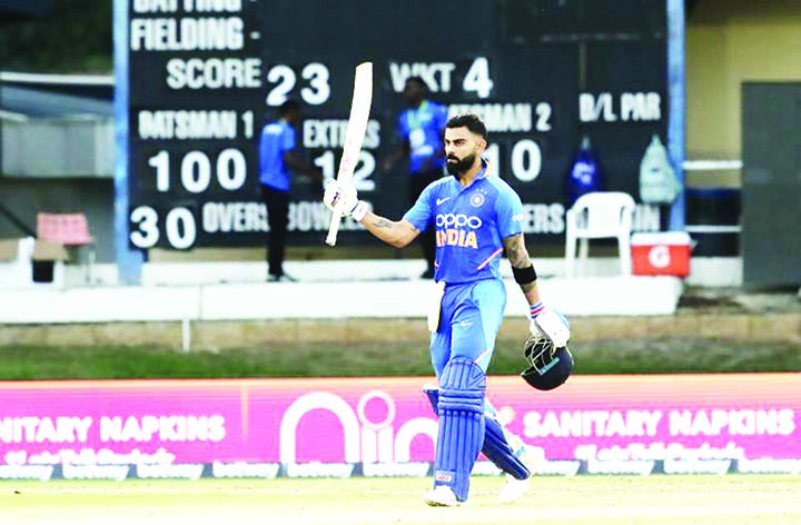 Kohli hundred wraps up 3rd ODI and series win in Caribbean
