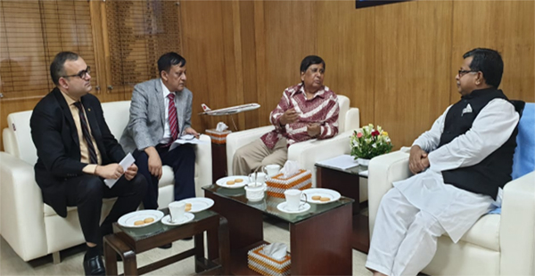 Representatives of  Bangladesh International Hotel Association  attending a meeting with Minister for Civil Aviation and  Tourism Adv Md Mahbub Ali MP  at his office recently with  President H M. Hakim Ali in the chair recently. The meeting discussed  reduction of  VAT, Tax, Import Tax and  SD.