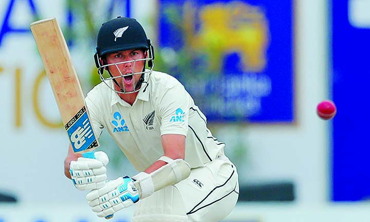 New Zealand's Trent Boult plays a shot during the first Test cricket match against Sri Lanka in Galle, Sri Lanka on Saturday.