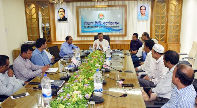 CCC Mayor AJM Nasir Uddin addressing a  discussion meeting with the engineers at the conference room of City Corporation at Tiger Pass on Sunday.