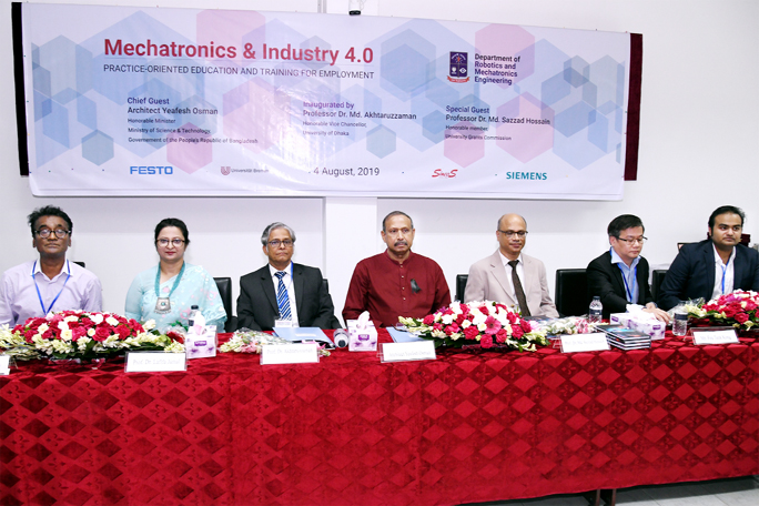 Dhaka University Vice-Chancellor Prof Dr Md. Akhtaruzzaman inaugurates a day long international seminar on 'Mechatronics and Industry 4.0: Practice-oriented  Education and Training for Employment' held at Nabab Nawab Ali Chowdhury Senate Bhaban  of the University recently.
