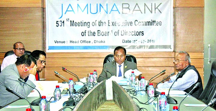 Nur Mohammed, EC Chairman of Jamuna Bank Limited, presiding over its 531st meeting at the banks head office in the city recently. Kanutosh Majumdar, Director and Shafiqul Alam, CEO of the bank were also present.