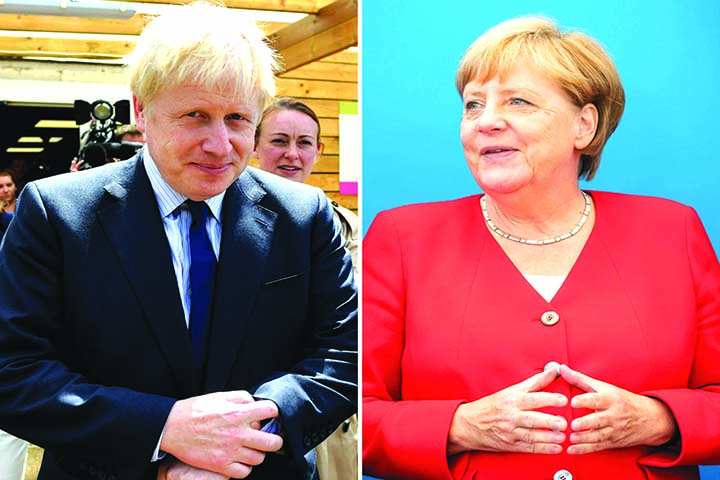 Johnson, Merkel to face off in first Brexit talks