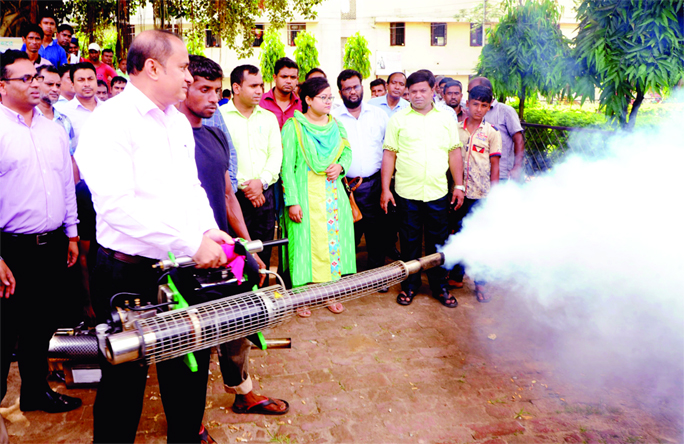 BOGURA:  Md Fayez Ahmed, DC, Bogura inaugurating mosquito eliminating drive as Chief Guest organised by Bogura District Administration yesterday.