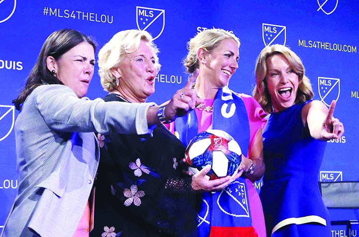 The ownership group of the new St. Louis soccer franchise poses for a photo after the announcement on Tuesday that St. Louis has been awarded a major league soccer expansion team. They are from left: Patty Taylor, Jo Ann Taylor       Kindle, Carolyn Kindle Betz, and Chrissy Taylor.