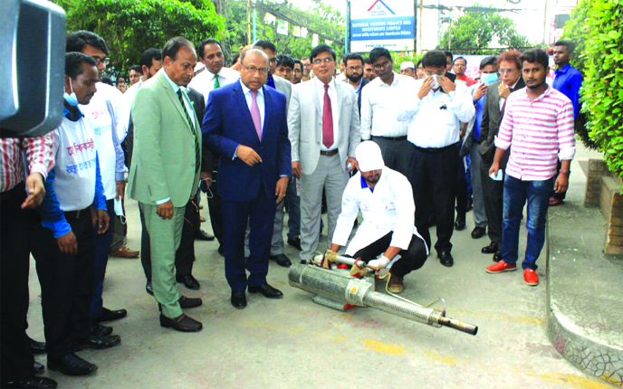 Local Government Minister Md.Tazul Islam, inaugurated the month-long dengue eradication program as chief guest organised by Jamuna Bank Foundation in the city recently. Nur Mohammed, Chairman, Jamuna Bank Foundation and Mirza Elias Uddin Ahmed, AMD of the bank were also present.