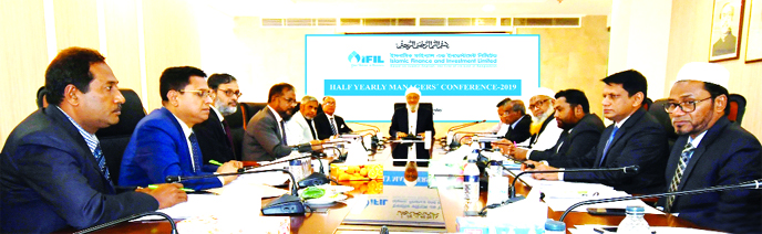 Anwar Hossain Chowdhury, Chairman, Board of Directors of Islamic Finance and Investment Limited (IFIL), presiding over its Half-yearly Managers' Conference at its head office in the city recently. S M Bakhtiar Alam, Vice-Chairman, Rezakul Haider, EC Chairman, Mohammed Nurul Amin, Audit Committee Chairman, Liaquat Hossain Moghul, Director and A Z M Saleh, Managing Director of the company were also present.