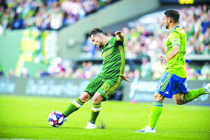 Portland forward Sebastián Blanco in action during the first half of a Major League Soccer match between Portland Timbers and Seattle Sounders at Providence Park in Portland on Friday.