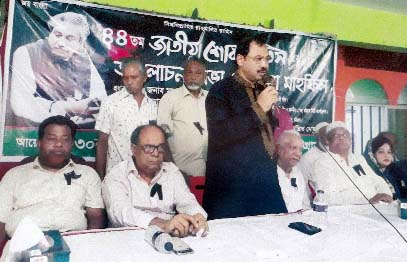 CCC Mayor A J M Nasir Uddin speaking at a discussion meeting on the occasion of the National Mourning Day organised by 30 No Ward (Madarbari Ward) as  Chief Guest recently.