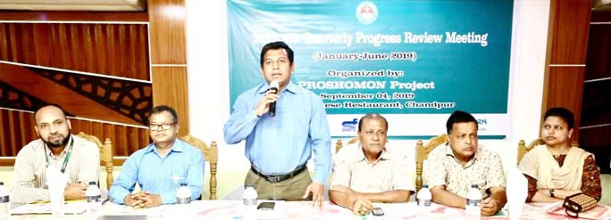 Mohammad Showkat Osman, ADC (General), Chandpur speaks as chief guest on Quarterly Progress Review Meeting held at Chandpur recently of EU funded PROSHOMON project's of Concern Worldwide partnering with Shajida Foundation. Among others, Siddiqur Rahman Dhali, Mayor (in-charge) of Chandpur Municipality, Azahar Ali FCA, Country Financial Controller, Concern Worldwide, Abul Kalam Bhuiyan, Secretary, Chandpur Municipality, Md. Abdul Gafur Bhuiyan, MO-MCHFP, Family Planning Department along  with other distinguished  officials were present in the occasion.