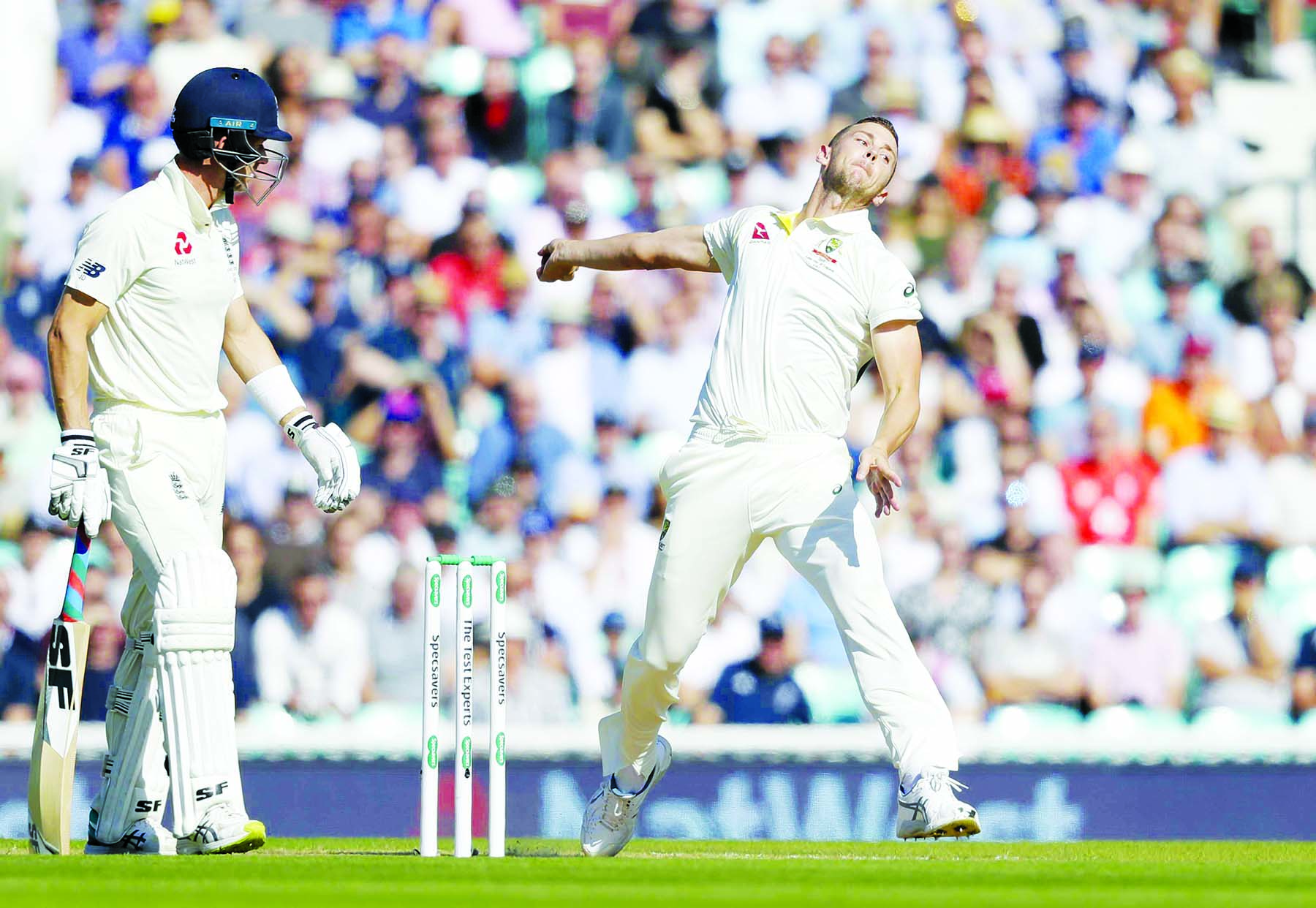 Australia's Josh Hazlewood bowls during the third day of the fifth Ashes Test match between England and Australia at the Oval cricket ground in London on Saturday.