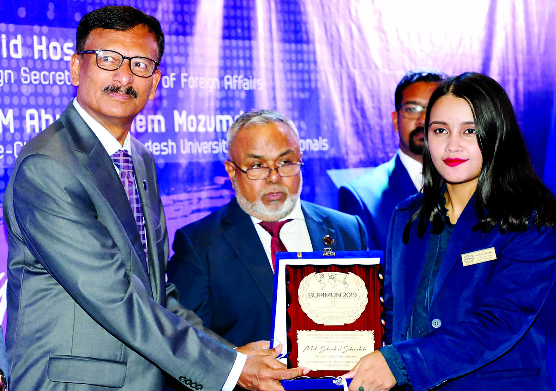Former Foreign Secretary M Touhid Hossain distributing prizes as Chief Guest among the representatives attended at BUP International Model Institute Nations Conference on Saturday.