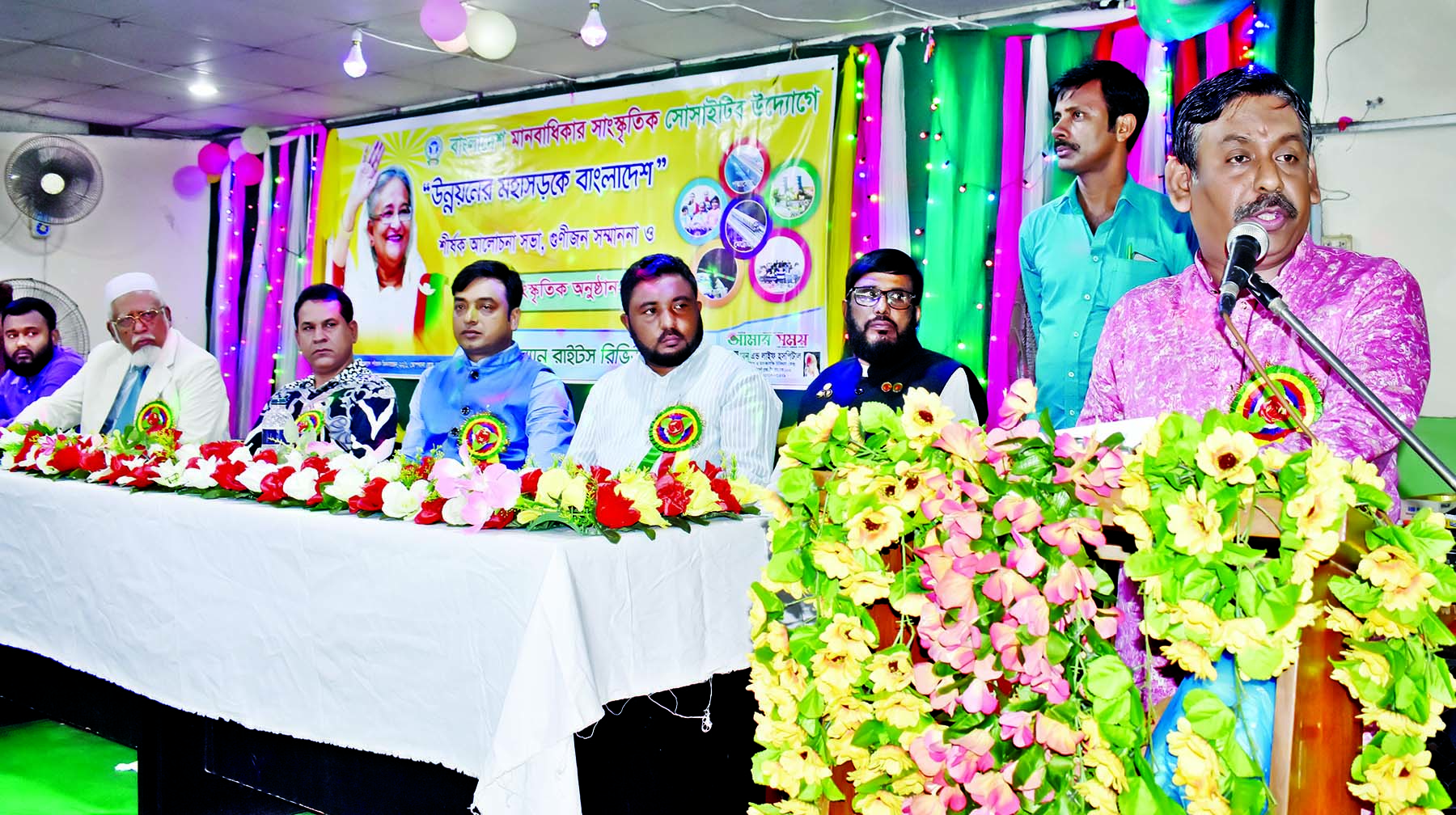 President of Bangabandhu Gobeshana Parishad  Lion Gani Miah Babul speaking as  a key speaker at a discussion  on 'Bangladesh in the Highway of Development
