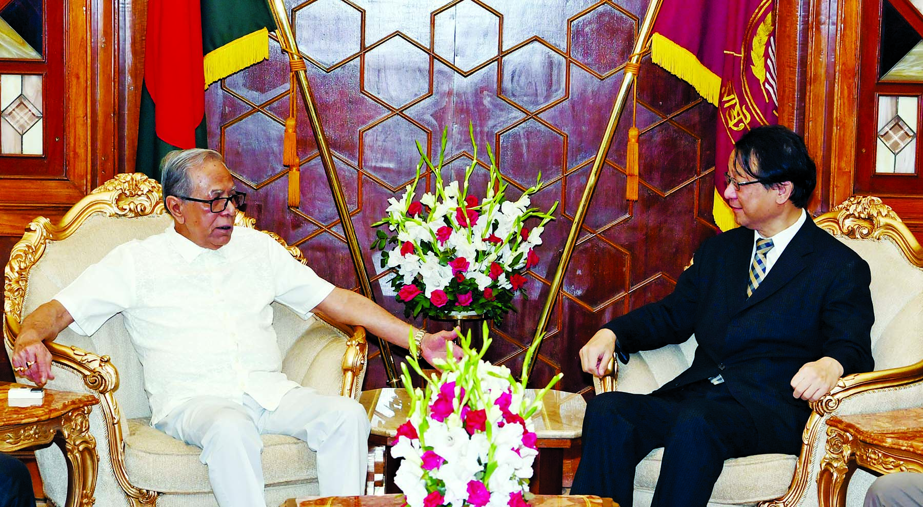 Japanese Ambassador to Bangladesh Hiroyasu called on  President Md Abdul Hamid at Bangabhaban yesterday.