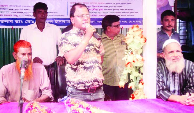 SAGHATA (Gaibandha): Md Shariful Islam Saju, Chairman, Ashar Alo Probhati Sangho speaking at the inaugural programme of the organisation as Chief Guest on Wednesday.