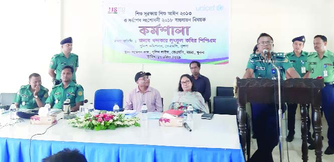 KHULNA: Khandakar Lutful Kabir, Police Commissioner, KMP, Khulna  addressing  a workshop as Chief Guest on Children Act- 2013 on Tuesday.