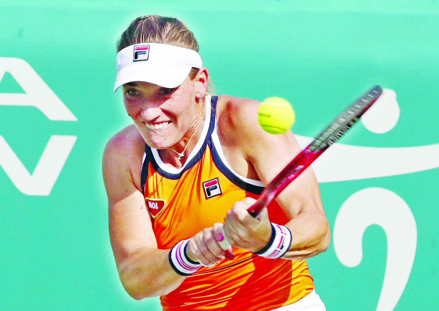 Timea Babos of Hungary, returns a shot to Karolina Muchova of the Czech Republic, during their second round match of the Korea Open tennis championships in Seoul, South Korea on Thursday.