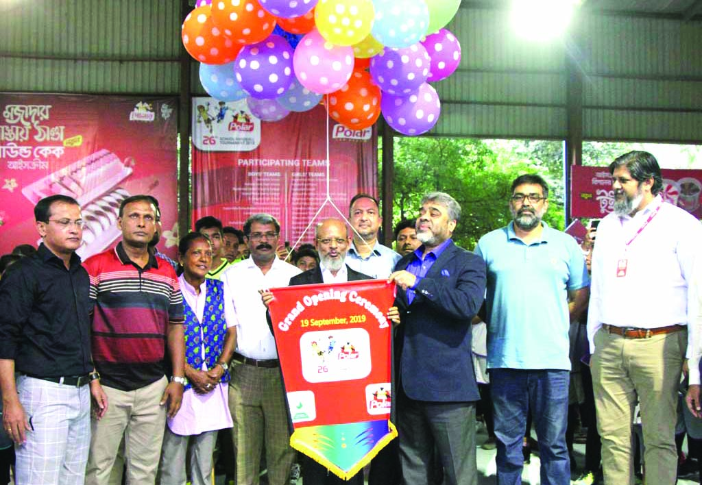 Managing Director of Dhaka Ice Cream Industries Limited Nazim Uddin Ahmed inaugurating the Polar Ice Cream 26th School Handball (Boys' & Girls') Tournament by releasing the balloons as the chief guest at the      Shaheed (Captain) M Mansur Ali National Handball Stadium on Thursday. President of Bangladesh Handball Federation AKM Nurul Fazal Bulbul presided over the opening ceremony.