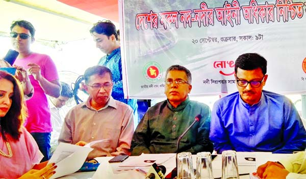State Minister for Shipping Khalid Mahmud Chowdhury, among others, at a discussion organised on the occasion of Rivers Day on a ship of BIWTA on the Buriganga river in the city on Friday.