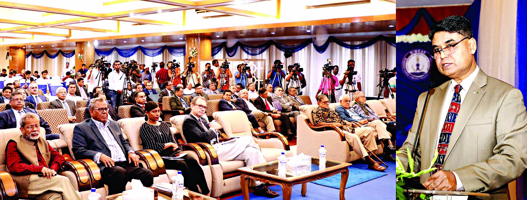 Chief of Naval Staff Admiral Aurangzeb Chowdhury speaking at a seminar on 'Maritime Security and Blue Economy' marking the first founding anniversary of Bangladesh Institute of Maritime Research and Development (BIMRAD) at the Navy Headquarters in the city's Banani on Saturday.