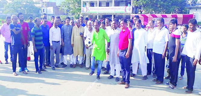 MIRZAPUR (Tangail): Md Shahadat Hossain Suman, Mayor, Mirzapur Pourashava inaugurating  Alhaj Md Akbar Hossain MP Football  Tournament as Chief Guest on  Friday.