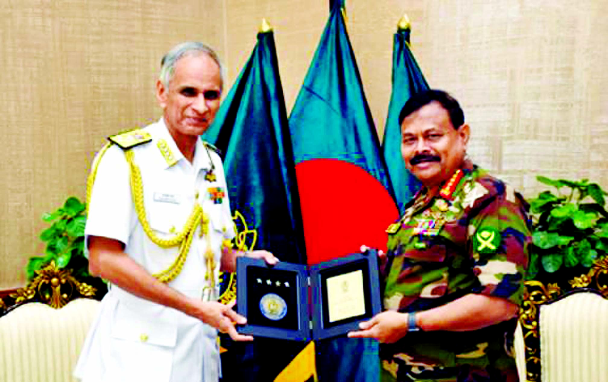 Indian Chief of Navy Staff Admiral  Karambir Singh made a courtesy call on Chief of Army Staff of Bangladesh  General Aziz Ahmed at Army Headquarters yesterday.