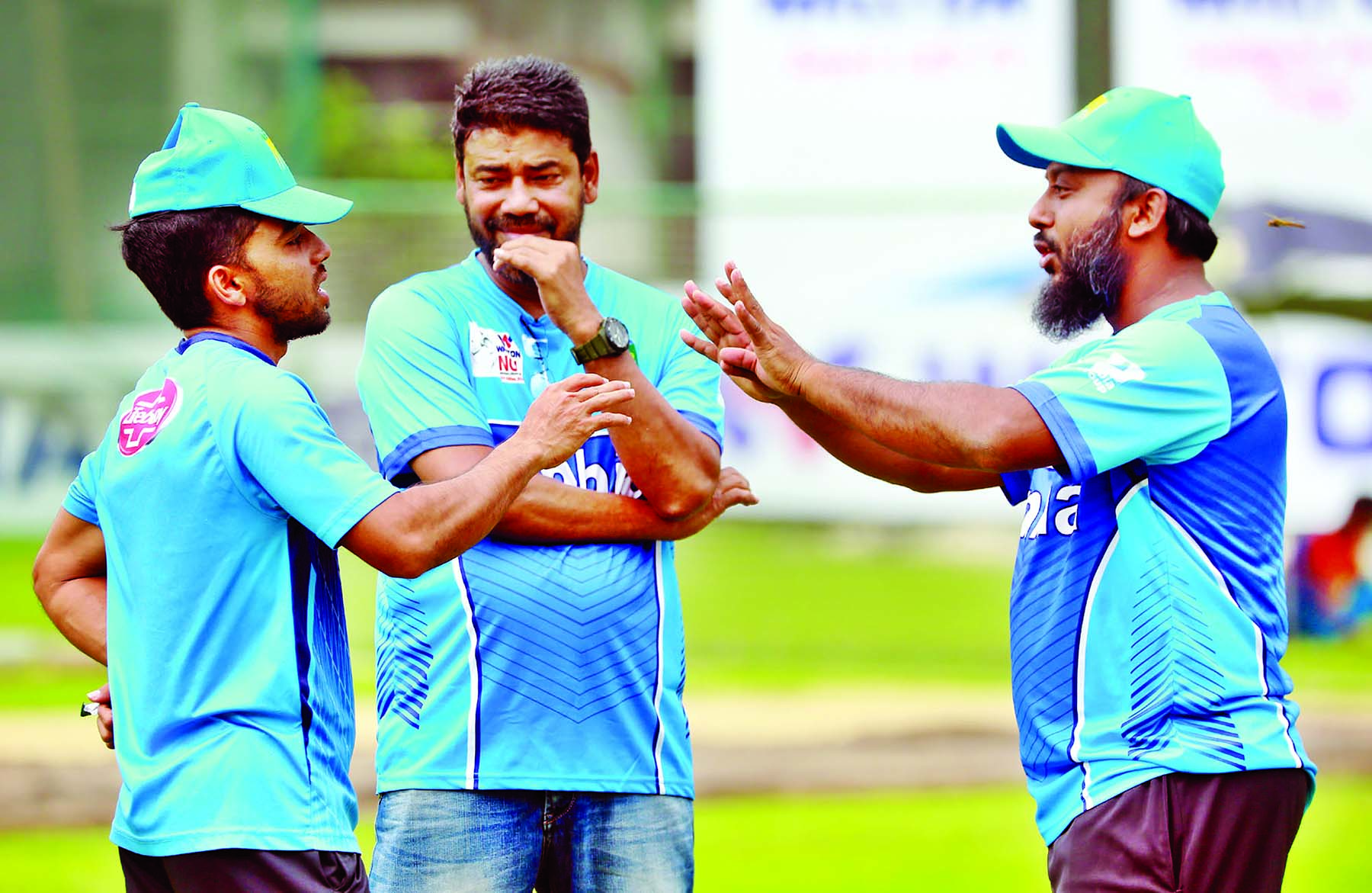 Members of Bangladesh Cricket team during their practice session at the BCB-NCA Ground in the city's Mirpur on Wednesday.