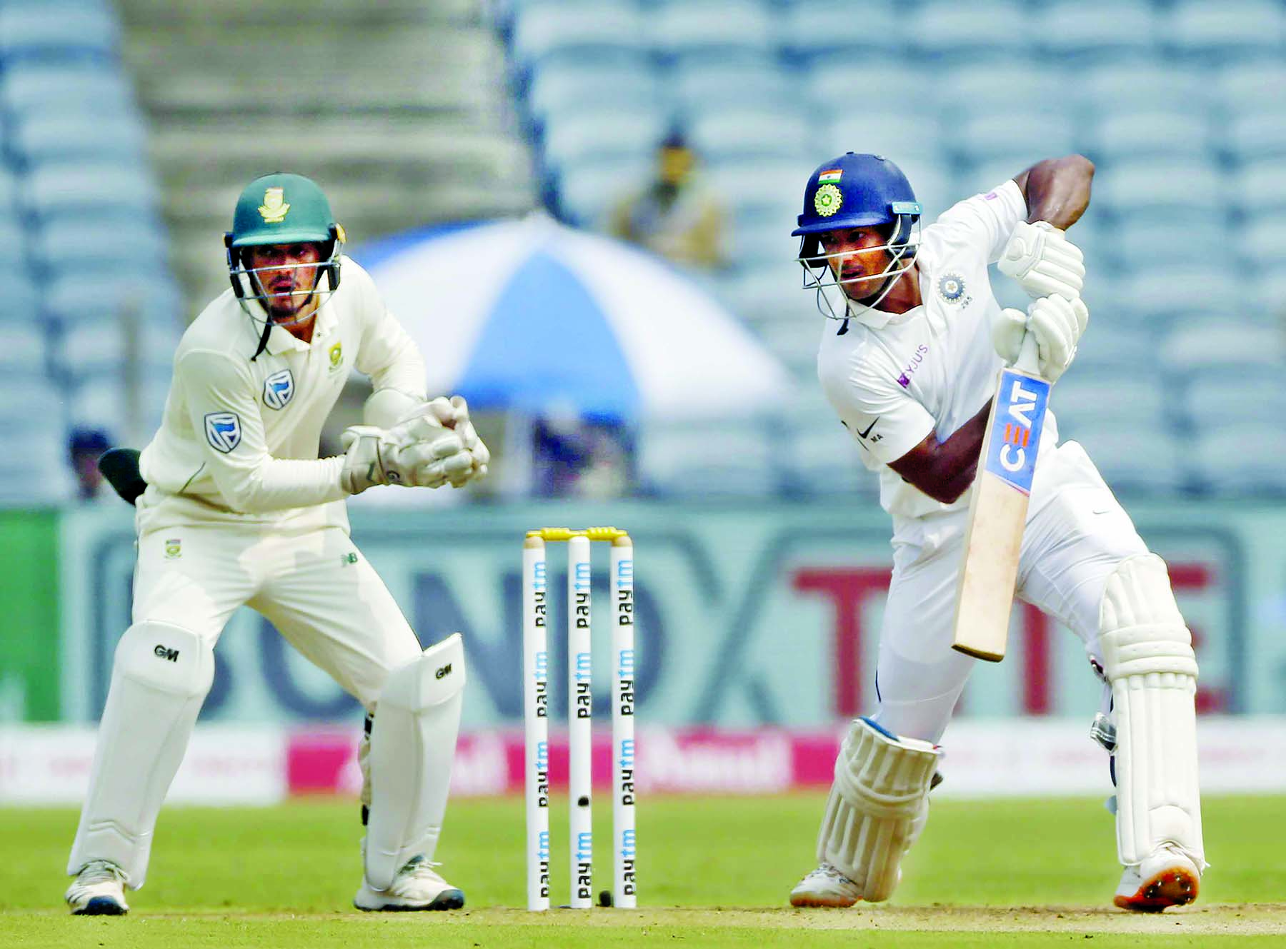 Agarwal ton helps India take early control on Day 1