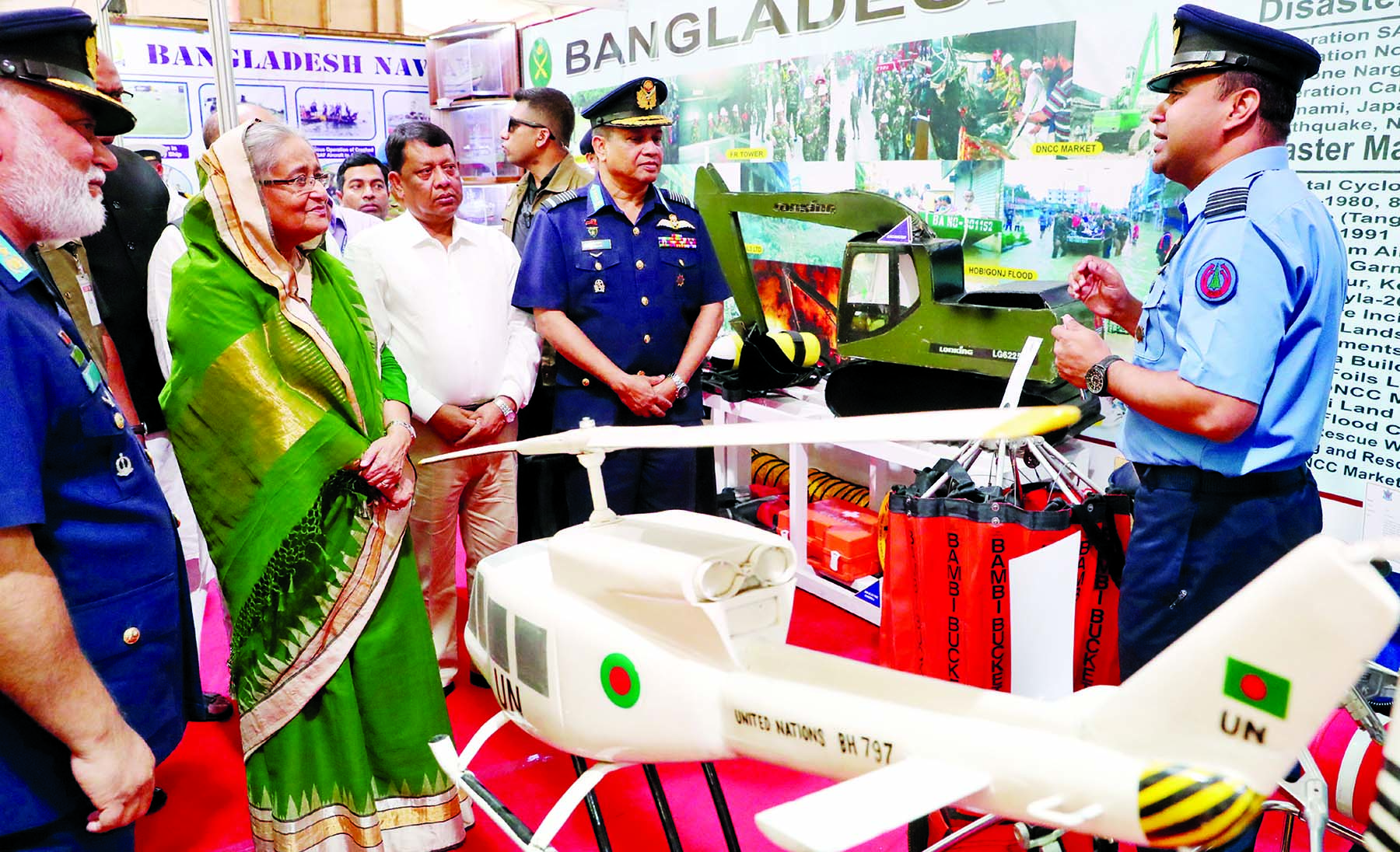Prime Minister Sheikh Hasina  yesterday visited different stalls at Bangabandhu International Conference Center in the city on  the occasion of International Day for Disaster Reduction.