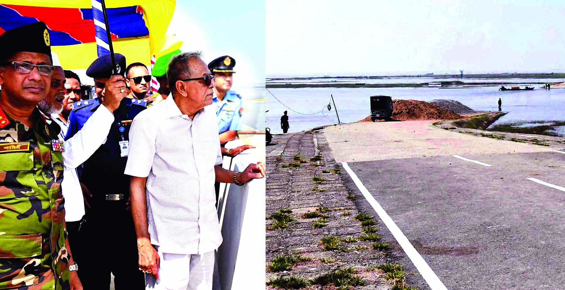 President M Abdul Hamid witnessing the progress of different ongoing development projects in Itna Upazila of Kishoreganj on Monday.