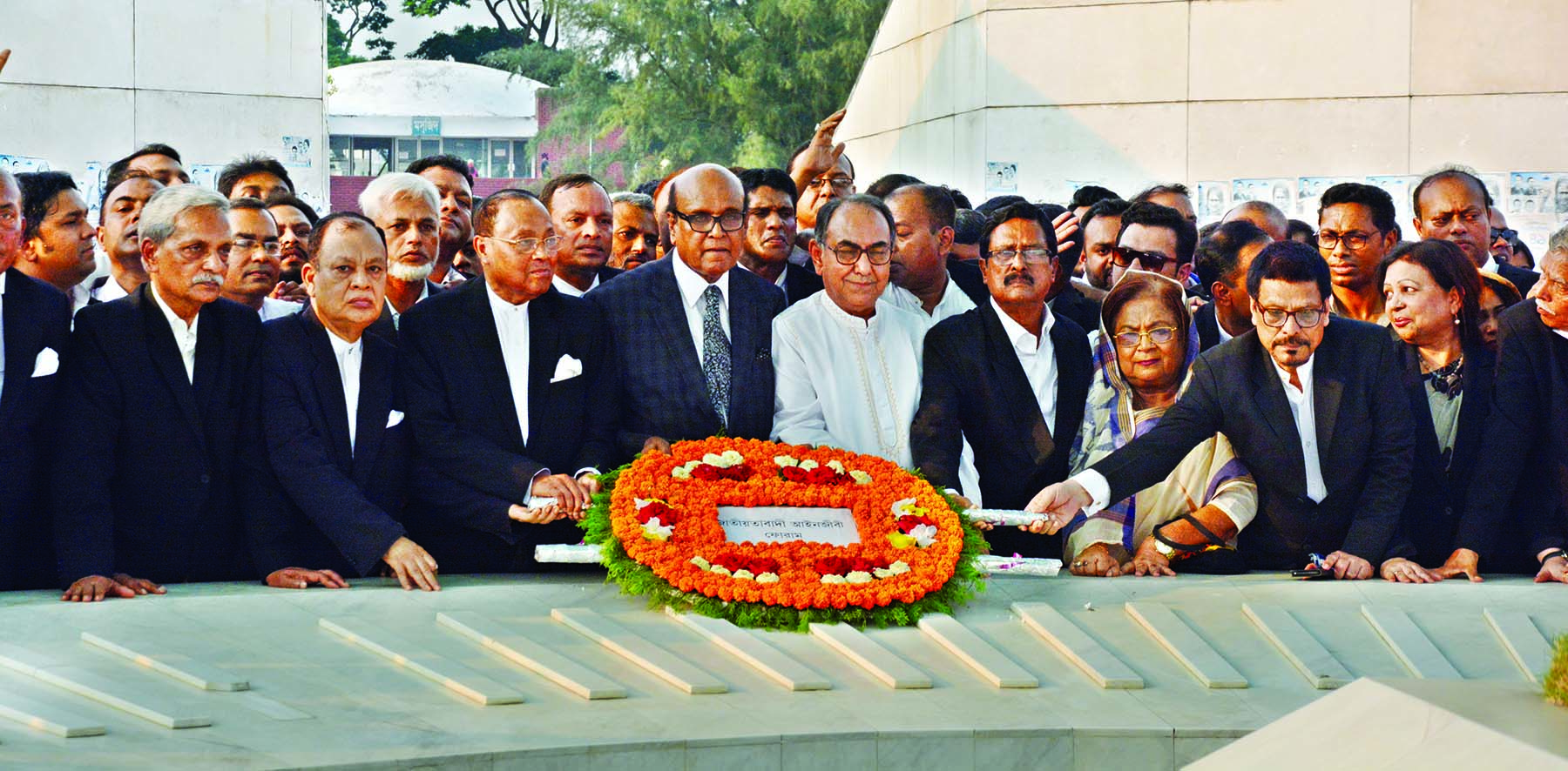 Newly formed Convening Committee of Bangladesh Ainjibi Forum placing floral wreaths on the Mazar of Shaheed President Ziaur Rahman in the city on Tuesday. Convener of the committee Advocate Khondkar Mahbub Hossian was present, among others, on the occasion.