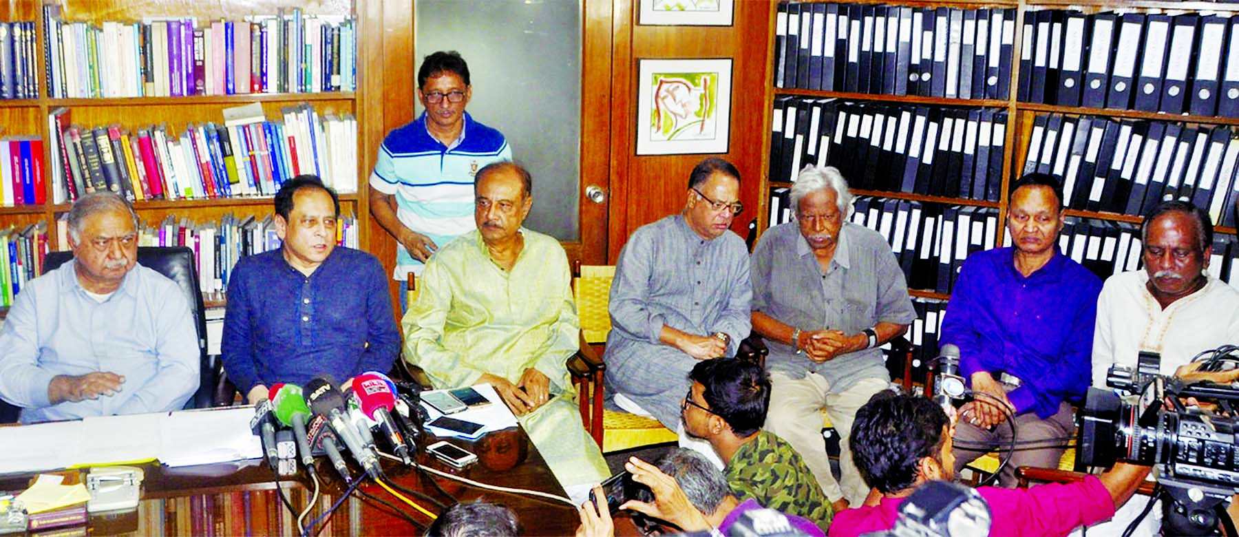 Gonoforum President Dr Kamal Hossain, among others, at a discussion on 'Latest Political Situation of the Country and Role' at a meeting of steering committee of Jatiya Oikyafront at his chamber in the city on Wednesday.