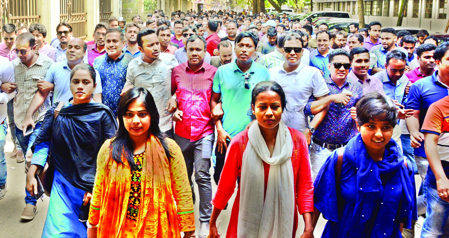 Jatiyatabadi Chhatra Dal brought out a silent procession on Dhaka University campus on Thursday demanding trial of killers of Abrar Fahad and release of BNP Chief Begum Khaleda Zia.