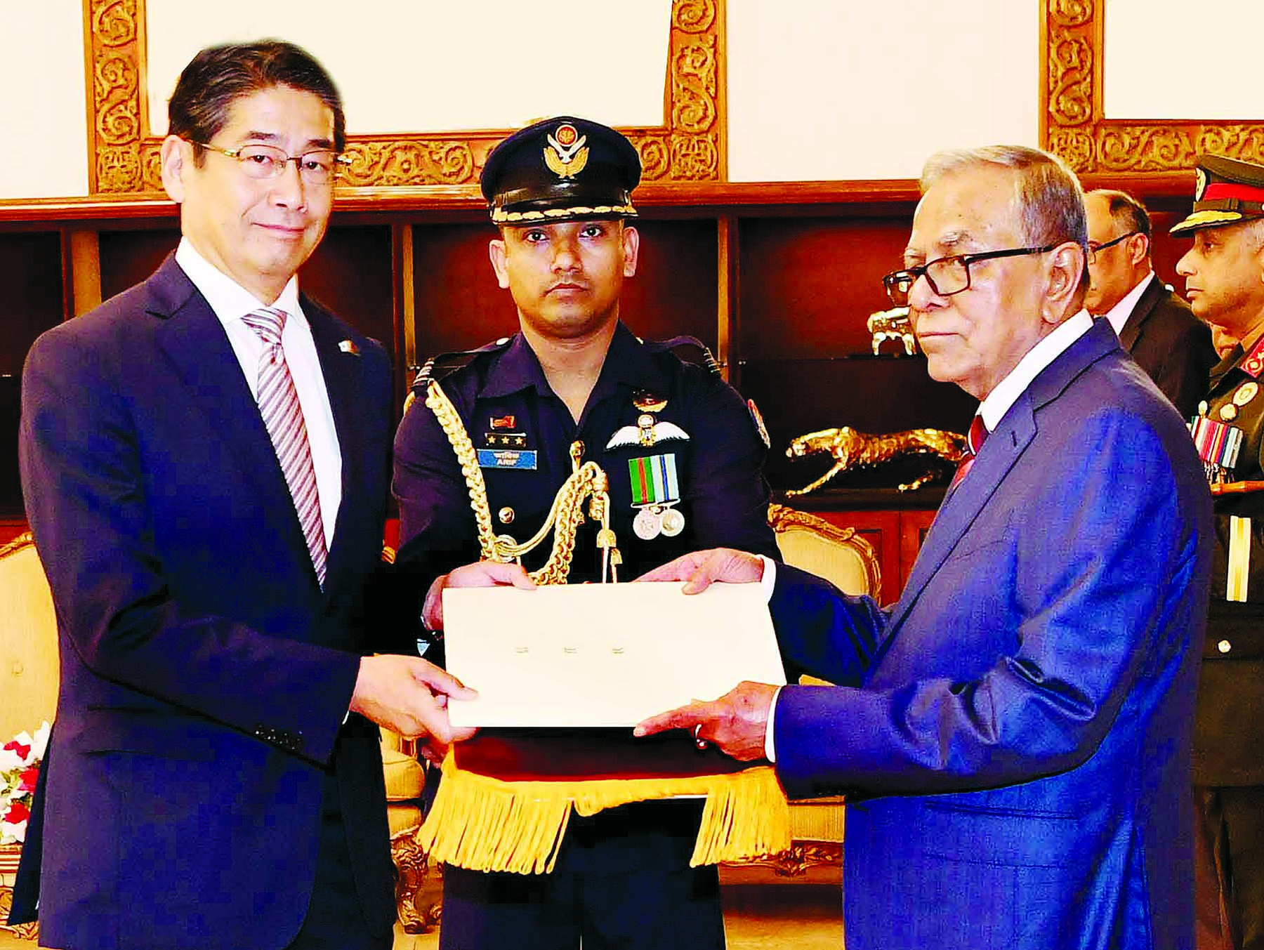 Newly appointed Japanese envoy to Bangladesh Naoki ITO presents credentials to President Abdul Hamid at Bangabhaban on Thursday.