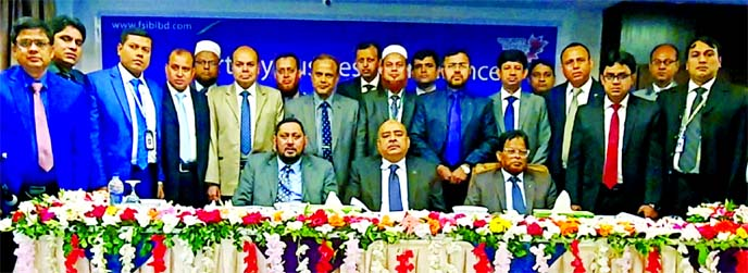 Syed Waseque Md Ali, Managing Director of First Security Islami Bank Limited, poses along with participants for photograph after attending the bank's Quarterly Business Conference at its Khulna Zonal office recently. Md Mustafa Khair, Deputy Managing Director and Md Abdur Rashid, Zonal Head of Khulna, among others, were present.