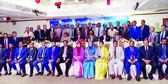 Syed Waseque Md. Ali, Managing Director of First Security Islami Bank Limited, poses for photograph with the participants of its Quarterly Business Conference organized by Chattogram Zone at its zonal office on Saturday. Abdul Aziz, AMD, Md. Mustafa Khair, Md. Zahurul Haque, DMDs and Md. Hafizur Rahman, Chattogram Zonal Head of the bank were also present.
