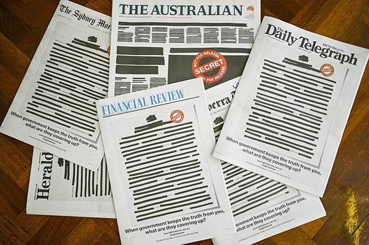 Australian papers black out front pages in protest against media restrictions