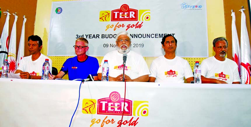General Secretary of Bangladesh Archery Federation Kazi Rajib Uddin Ahmed Chapol speaking at a press conference at Bangladesh Olympic Association Auditorium on Saturday.